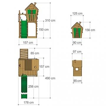 FATMOOSE Stelzenhaus HappyHome Hot XXL Spielturm Kletterturm Spielhaus auf Podest mit Holzdach, Kletterwand, Sandkasten, Torwand und Rutsche - 6