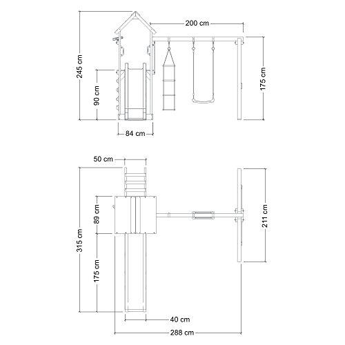 FreshFlyer Spielturm Kletterturm Schaukel Rutsche Podesthöhe 90 cm -