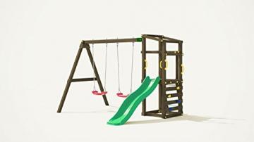 Fungoo Spielturm Hally mit Doppelschaukel und grüner Rutsche - 1
