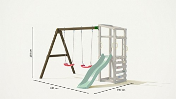 Fungoo Spielturm Hally mit Doppelschaukel und grüner Rutsche - 2