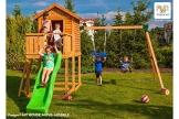 Fungoo Spielturm MY HOUSE mit MOVE+ Modul mit Rutsche, doppelter Schaukel, Leiter mit Metallsprossen und geschlossenem Spielhaus - Blau - 1