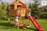 Fungoo Spielturm MY HOUSE mit Rutsche, Leiter mit Metallsprossen und geschlossenem Spielhaus - Gelb - 1