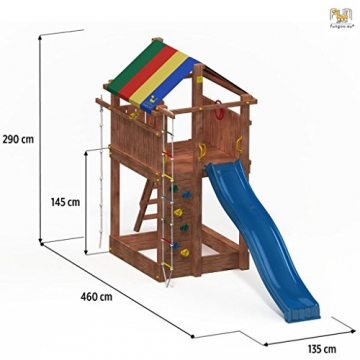 Fungoo Spielturm PARADISE Kletterturm 2,9 m Rutsche Sandkasten Kletterwand Kletterseil - 2