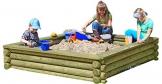 Gartenpirat Sandkasten 180x180 cm aus Rundholz Ø 10cm - Premiumqualität - 1