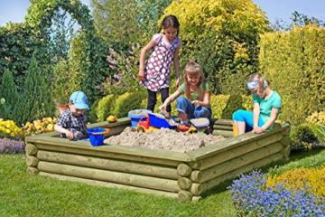 Gartenpirat Sandkasten 180x180 cm aus Rundholz Ø 10cm - Premiumqualität - 2