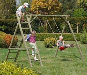 Gartenpirat Schaukel aus Holz Schaukelgestell Classic 2.1 mit Leiter - 2