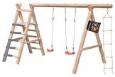Gartenpirat Schaukelgestell Holz Lärche Typ 5.2 mit Strickleiter und Podest für Rutsche - 1