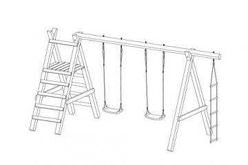 Gartenpirat Schaukelgestell Holz Lärche Typ 5.2 mit Strickleiter und Podest für Rutsche - 3