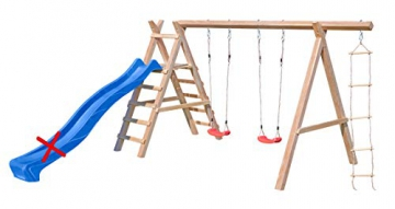 Gartenpirat Schaukelgestell Holz Lärche Typ 5.2 mit Strickleiter und Podest für Rutsche - 5