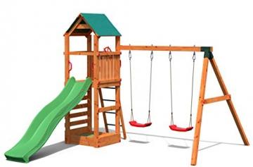 Gartenpirat Spielturm Kletterturm Pirat T1 mit Schaukel und Rutsche - 1