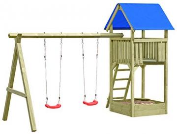 Gartenpirat Spielturm Premium M mit 2x Schaukel Sandkasten aus Holz - 1