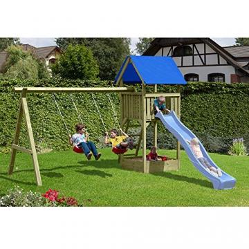 Gartenpirat Spielturm Premium M mit 2x Schaukel Sandkasten aus Holz - 2