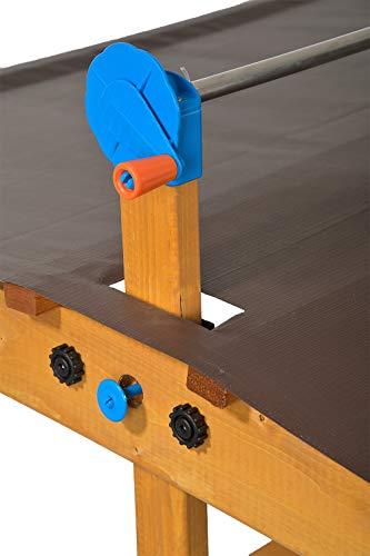 GASPO Sandkasten mit absenkbarem Dach Mickey II, Sandkiste mit schwenkbarem und absenkbarem Kurbeldach 140 x 140 cm einfaches Bausatzsystem, TÜV-geprüft - 2