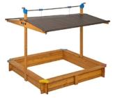 GASPO Sandkasten mit absenkbarem Dach Mickey II, Sandkiste mit schwenkbarem und absenkbarem Kurbeldach 140 x 140 cm einfaches Bausatzsystem, TÜV-geprüft - 1