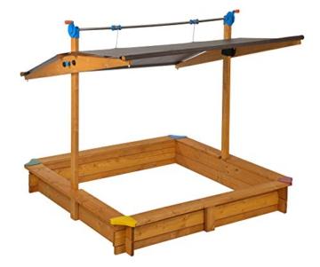 GASPO Sandkasten mit absenkbarem Dach Mickey II, Sandkiste mit schwenkbarem und absenkbarem Kurbeldach 140 x 140 cm einfaches Bausatzsystem, TÜV-geprüft - 4