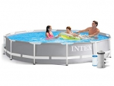 Global 7in1 Set Green Gartenpool Prism 366 x 76 cm Metal Frame Pool mit Filterpumpe 2006 L/Stunde INTEX 26710 - 1