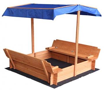 Home Deluxe - Sandkasten Buddelkiste - Mit verstellbarem Dach und Bodenplane - Maße: 130 x 120 x 120 cm - inkl. komplettem Montagematerial - 2