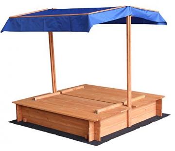 Home Deluxe - Sandkasten Buddelkiste - Mit verstellbarem Dach und Bodenplane - Maße: 130 x 120 x 120 cm - inkl. komplettem Montagematerial - 3