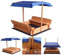 Home Deluxe - Sandkasten Buddelkiste - Mit verstellbarem Dach und Bodenplane - Maße: 130 x 120 x 120 cm - inkl. komplettem Montagematerial - 1