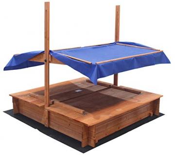 Home Deluxe - Sandkasten Buddelkiste - Mit verstellbarem Dach und Bodenplane - Maße: 130 x 120 x 120 cm - inkl. komplettem Montagematerial - 4