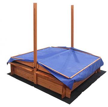 Home Deluxe - Sandkasten Buddelkiste - Mit verstellbarem Dach und Bodenplane - Maße: 130 x 120 x 120 cm - inkl. komplettem Montagematerial - 6
