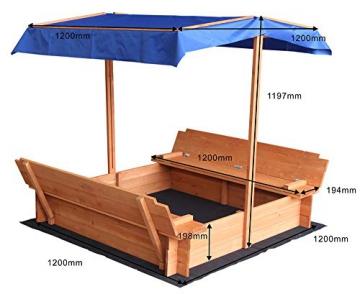 Home Deluxe - Sandkasten Buddelkiste - Mit verstellbarem Dach und Bodenplane - Maße: 130 x 120 x 120 cm - inkl. komplettem Montagematerial - 7