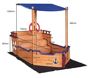 Home Deluxe - Sandkasten Matschekiste - Segelschiff inkl. Bodenplane - Maße: 160 x 78 x 103 cm - inkl. komplettem Montagematerial - 5