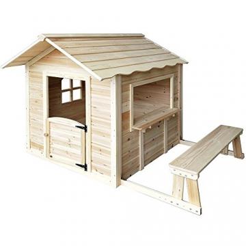 Home Deluxe - Spielhaus - Der große Palast Natur - mit Bank - Inkl. komplettem Zubehör - 2