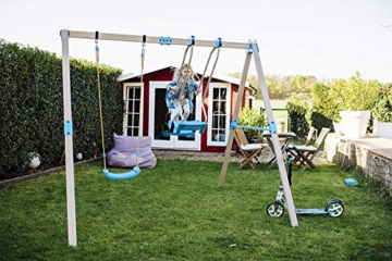 HUDORA 64024 Vario Basismodul V-Individuell konfigurierbare Garten-Schaukel inkl. Brettschaukel, beige/blau, 2,10 x 1,20 x 2,06 m - 4