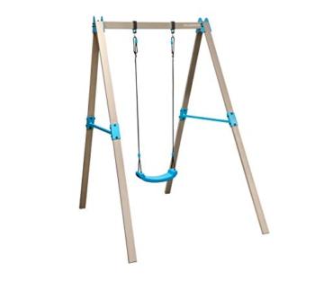 HUDORA 64024 Vario Basismodul V-Individuell konfigurierbare Garten-Schaukel inkl. Brettschaukel, beige/blau, 2,10 x 1,20 x 2,06 m - 1