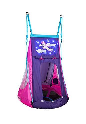 HUDORA 72151 Nestschaukel Cosmos 90 Nestchaukel mit Zelt und LED Beleuchtung, blau/schwarz - 1