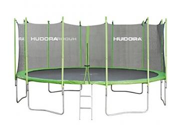 HUDORA Family Trampolin mit Sicherheitsnetz, grün/schwarz, 250 cm, 65620 -