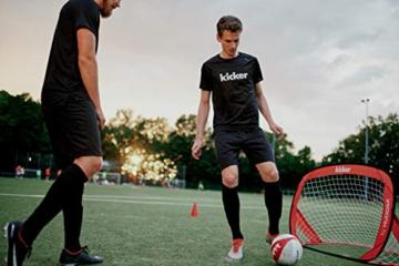 HUDORA Kinder & Erwachsene Pop Up Fußballtor Edition, 2er Set | Faltbares Fußball-Tor im exklusiven Kicker Design für den Garten und unterwegs, rot, 120 x 80 x 80 cm - 4