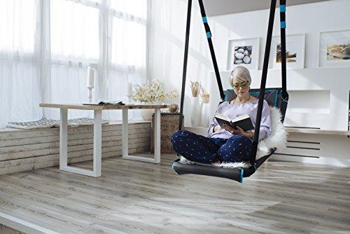 HUDORA Nestschaukel Eckig Hollywood, anthrazit/türkis , Indoor & Outdoor geeignet , Nest-Schaukel zum Sitzen & Liegen , 72165 - 5