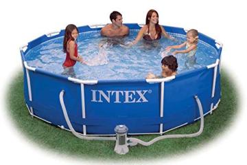 INTEX 366x76 cm Prism Metal Frame Swimming Pool Schwimmbecken 28212 Komplett-Set mit Extra-Zubehör wie: Schwimmring und Strandball - 2