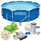 INTEX 366x76 cm Prism Metal Frame Swimming Pool Schwimmbecken 28212 Komplett-Set mit Extra-Zubehör wie: Schwimmring und Strandball - 1