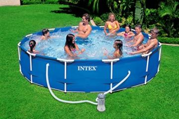 INTEX 366x76 cm Prism Metal Frame Swimming Pool Schwimmbecken 28212 Komplett-Set mit Extra-Zubehör wie: Schwimmring und Strandball - 3