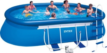Intex Aufstellpool Oval Frame Pool Set, TÜV/GS, Blau, 549 x 305 x 107 cm -