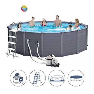 Intex Graphite Gray Panel Pool Set - Panel Wand Aufstellpool - Sehr luxuriös und robust - Ø 478 x 124 cm - Zubehör enthalten - 2