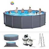 Intex Graphite Gray Panel Pool Set - Panel Wand Aufstellpool - Sehr luxuriös und robust - Ø 478 x 124 cm - Zubehör enthalten - 1