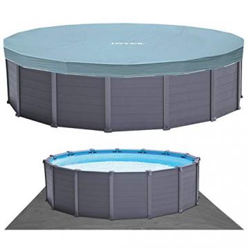 Intex Graphite Gray Panel Pool Set - Panel Wand Aufstellpool - Sehr luxuriös und robust - Ø 478 x 124 cm - Zubehör enthalten - 3
