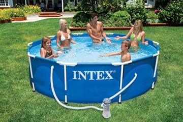 Intex Metal Frame Pool - Aufstellpool -  Ø 366 x 76 cm - Mit Filteranlage - 12V - 5