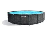 Intex Unisex– Erwachsene Premium Frame Pool Set Prism Greywood Ø 457 x 122 cm, Dunkelgraue Holzoptik - 1