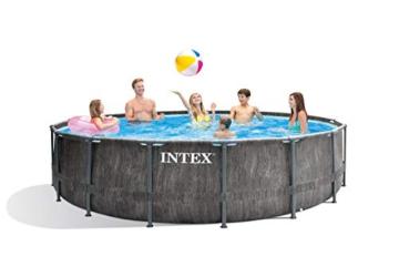 Intex Unisex– Erwachsene Premium Frame Pool Set Prism Greywood Ø 457 x 122 cm, Dunkelgraue Holzoptik - 3