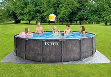 Intex Unisex– Erwachsene Premium Frame Pool Set Prism Greywood Ø 457 x 122 cm, Dunkelgraue Holzoptik - 4