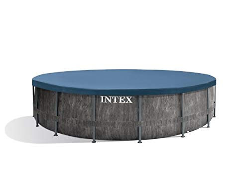 Intex Unisex– Erwachsene Premium Frame Pool Set Prism Greywood Ø 457 x 122 cm, Dunkelgraue Holzoptik - 5