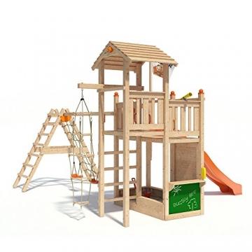 ISIDOR Bugsly Bee Spielturm Kletterturm Baumhaus Rutsche Schaukeln (erweiterter Schaukelanbau, Orange) -