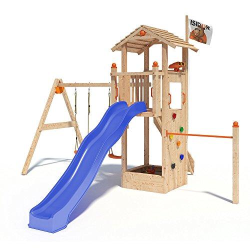 ISIDOR Dori Spielturm Kletterturm Baumhaus Rutsche Schaukeln (einfacher Schaukelanbau, Blau) -