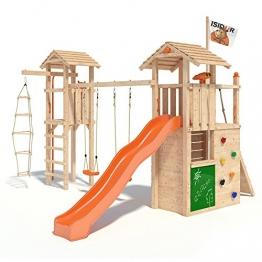 ISIDOR Gilligan Spielturm Kletterturm Baumhaus Rutsche Schaukeln (Turm-Schaukelanbau, Orange) -