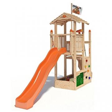 ISIDOR Joshy Spielturm Kletterturm Baumhaus Rutsche Schaukeln (ohne Schaukelanbau, Orange) -